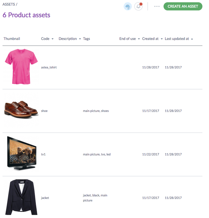 Assets in the Akeneo UI