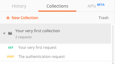 Authent request in the postman collection